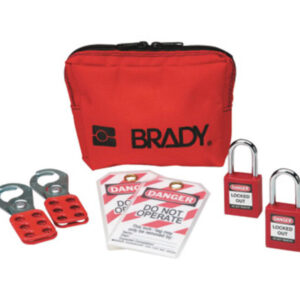 """Brady® Red 1 1/2"""" W Plastic Personal Padlock Pouch Includes (2) Group Lockout Hasps, (2) Heavy Duty Lockout Tags, (2) Keyed-Alike Safety Padlocks And (1) Lockout Belt Pouch"""