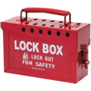 """Brady® Red 6"""" X 9"""" X 3 1/2"""" Heavy Duty Steel Portable Group Lock Box Includes (13) Lock Holes On Lid And (1) Lockable Clasp On Front"""