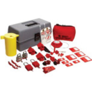 Brady® Gray, Red And Yellow Electrical Lockout Toolbox Kit Includes (6) Lockouts, (2) Fuse Blockouts, (1) Extra-Large Lockout Toolbox And (1) Cleat