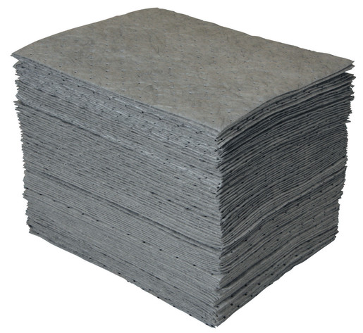 "Brady® 15"" X 19"" SPC™ GP™ Gray 1-Ply Meltblown Polypropylene Dimpled Full Size Heavy Weight Sorbent Pad"