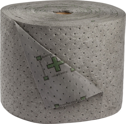 """Brady® 15"""" X 150' SPC™ Gray 2-Ply Meltblown Polypropylene Dimpled Heavy Weight High Traffic Sorbent Roll, Perforated Every 18"""""""