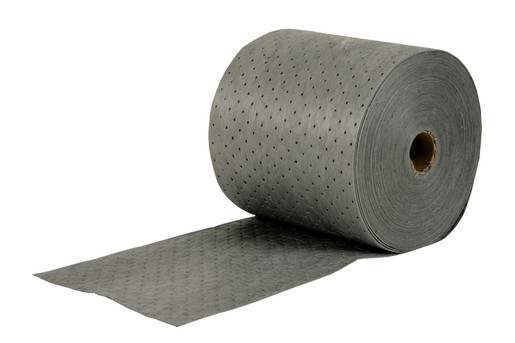 "Brady® 15"" X 150' SPC™ MRO Plus™ Gray 3-Ply Meltblown Polypropylene Dimpled Medium Weight Sorbent Roll, Perforated Every 18"" (1 Per Box)"