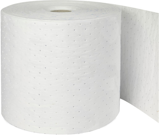 """Brady® 14 1/4"""" X 150' Re-Form™ White 80% Natural Cotton Fiber Heavy Weight Sorbent Roll, Perforated Every 19"""""""