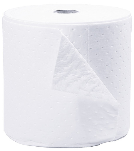 """Brady® 15"""" X 150' SPC™ SXT® Top Layer Blue And Bottom Layer White 3-Ply Meltblown Polypropylene Perforated Double Sided Heavy Weight Sorbent Roll, Covers Wide Area Perforated Every 18"""""""