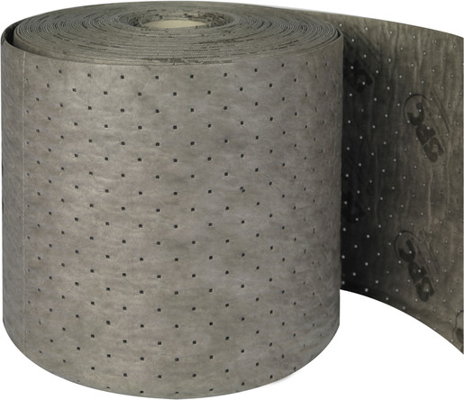 """Brady® 15"""" X 150' SPC™ UXT™ Dark Gray 3-Ply Meltblown Polypropylene Perforated Double Sided Xtra Tough Low Linting Heavy Weight Sorbent Roll, Perforated Every 18"""""""