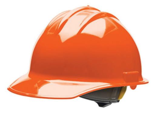 Bullard® Orange HDPE Cap Style Hard Hat With 6 Point Rachet Suspension