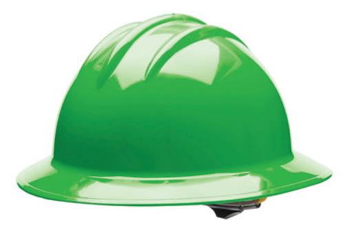 Bullard® Green HDPE Full Brim Hard Hat With 6 Point Rachet Suspension
