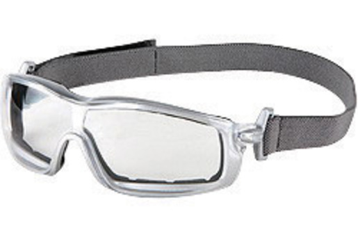 Crews® Rattler™ Safety Glasses With Silver Nylon Frame, Clear Polycarbonate Duramass® Anti-Fog Anti-Scratch Lens And Adjustable Head Band
