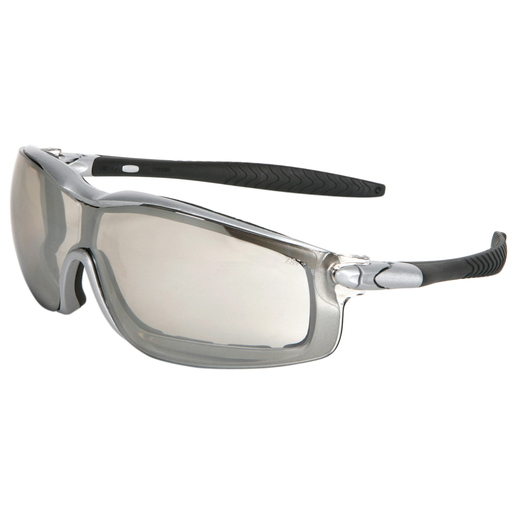 Crews® Rattler™ Safety Glasses With Silver Nylon Frame, Clear Indoor/Outdoor Mirror Polycarbonate Duramass® Anti-Fog Anti-Scratch Lens And Adjustable Head Band