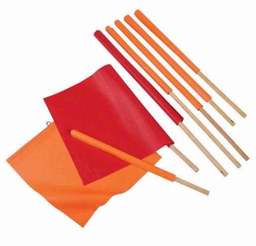 "Cortina Safety Products 24"" X 24"" Hi-Viz Orange Reinforced Vinyl Heavy Duty Warning Flag With 36"" Wood Dowel Handle"