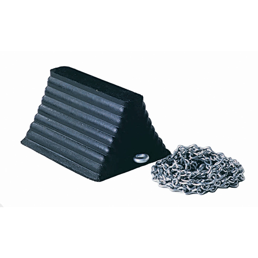 "Cortina Safety Products 10"" X 8"" X 6"" Black Recycled Rubber Heavy Duty Wheel Chock With 12' Chain"