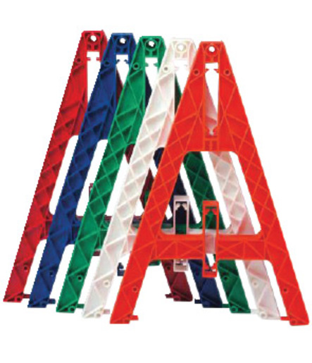 Cortina Safety Products White Plastic Traffic Barricade A-Frame With Slots Used For Weight Cartridges And Boards.