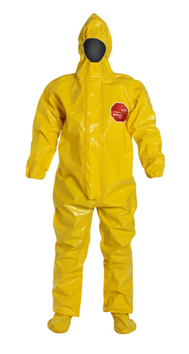 DuPont™ 2X Yellow SafeSPEC™ 2.0 18 mil Tychem® BR Chemical Protection Coveralls With Taped Seams, Adhesive Storm Flap Over Front Zipper Closure, Respirator Fit Hood, Elastic Wrist, Attached Socks, And Outer Boot Flaps