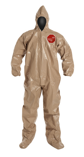 DuPont™ 2X Tan SafeSPEC™ 2.0 18 mil Tychem® CPF3 Chemical Protection Coveralls With Taped Seams, Adhesive Storm Flap Over Front Zipper Closure, Standard Fit Hood, Elastic Wrists, And Attached Socks