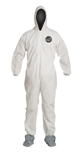 DuPont™ Large White SafeSPEC™ 2.0 ProShield® Basic Disposable Chemical Protection Coveralls With Front Zipper With Storm Flap Closure, Serged Seams, Standard Fit Hood, Elastic Wrists, And Attached Skid Resistant Boots
