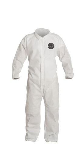 DuPont™ Medium White SafeSPEC™ 2.0 ProShield® Basic Disposable Chemical Protection Coveralls With Front Zipper With Storm Flap Closure, Serged Seams, Laydown Collar, Elastic Wrists, And Ankles