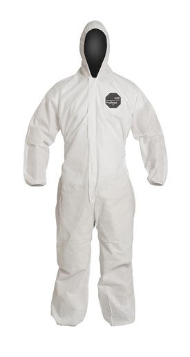 DuPont™ X- Large White SafeSPEC™ 2.0 ProShield® Basic Disposable Chemical Protection Coveralls With Front Zipper With Storm Flap Closure, Serged Seams, Standard Fit Hood, Elastic Wrists, And Attached Skid Resistant Boots