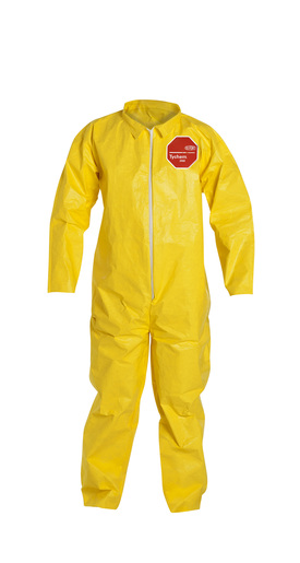 DuPont™ 3X Yellow SafeSPEC™ 2.0 10 mil Tychem® QC Chemical Protection Coveralls With Serged Seams, Front Zipper Closure, Laydown Collar, And Open Wrists And Ankles