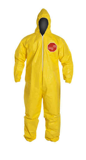 DuPont™ Large Yellow SafeSPEC™ 2.0 10 mil Tychem® QC Chemical Protection Coveralls With Serged Seams, Front Zipper Closure, Standard Fit Hood, And Elastic Wrists And Ankles