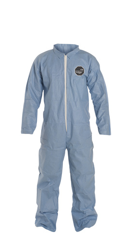 DuPont™ 2X Blue Safespec™ 2.0 Tempro® Disposable Water And Flame Resistant Coveralls With Front Zipper Closure, Laydown Collar, Open Wrists, Open Ankles And Set Sleeves (25 Per Case)