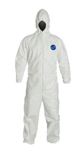 DuPont™ X - Large White Safespec™ Tyvek® Flash Spun Polyethylene Disposable Coveralls With Front Zipper Closure, Respirator Fit Hood, Elastic Wrist And Elastic Ankles