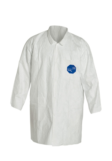 "DuPont™ 2X White 41 3/4"" Safespec™ 2.0 5.4 mil Tyvek® Disposable Lab Coat With 5 Snap Front Closure, Mandarin Collar And Open Wrist (30 Per Case)"