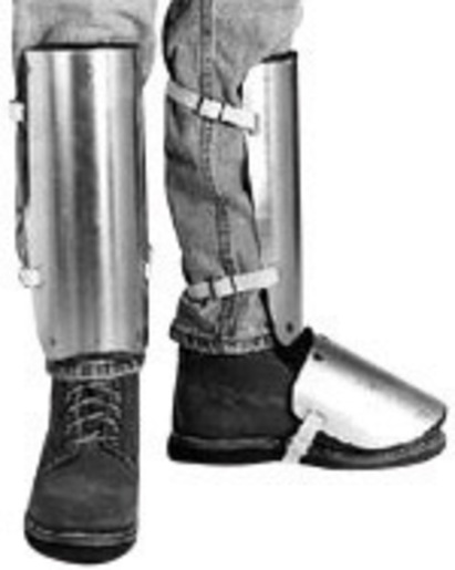 """Ellwood Safety Appliance Large 20"""" Aluminum Alloy Shin Instep Guard With Web Straps Tongue Buckle"""