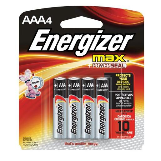Energizer® Eveready® MAX® 1.5 Volt AAA Alkaline Battery With Flat Contact Terminal (4 Per Card)