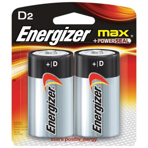 Energizer® Eveready® MAX® 1.5 Volt D Alkaline Battery With Flat Contact Terminal (2 Per Card)