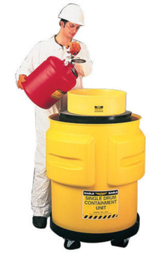 """Eagle 31"""" X 33"""" Yellow Polyethylene 1-Drum Spill Control Containment Unit With 65 Gallon Spill Capacity Without Drain"""
