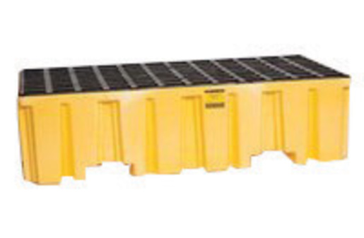 """Eagle 51"""" X 26 1/4"""" X 13 3/4"""" Yellow HDPE 2-Drum Spill Containment Pallet With 66 Gallon Spill Capacity And Drain"""