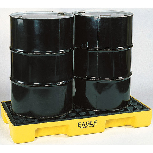 """Eagle 26 1/4"""" X 51 1/2"""" X 6 1/2"""" Yellow HDPE 2-Drum Modular Spill Containment Platform With 30 Gallon Spill Capacity Without Drain"""