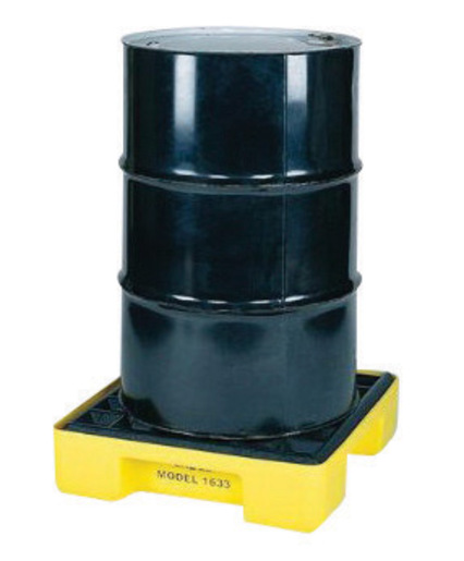 """Eagle 26 1/4"""" X 26"""" X 6 1/2"""" Yellow HDPE 1-Drum Modular Spill Containment Platform With 15 Gallon Spill Capacity And Cover, Without Drain"""