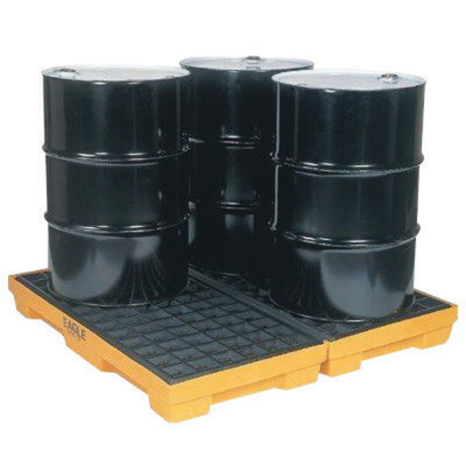 """Eagle 51 1/2"""" X 51 1/2"""" X 6 1/2"""" Yellow HDPE 4-Drum Modular Spill Containment Platform With 30 Gallon Spill Capacity Without Drain"""