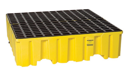 """Eagle 51 1/2"""" X 51"""" X 13 3/4"""" Yellow HDPE 4-Drum Spill Containment Pallet With 132 Gallon Spill Capacity, Grating And Drain"""