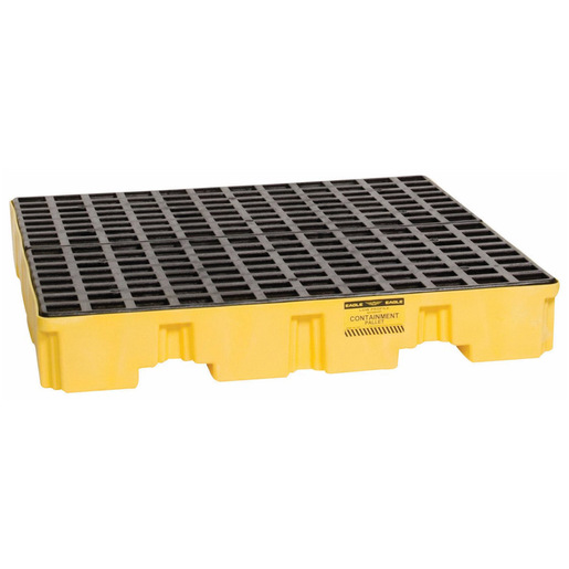 """Eagle 51 1/2"""" X 51 1/2"""" X 8"""" Yellow HDPE 4-Drum Low-Profile Spill Containment Pallet With 66 Gallon Spill Capacity, Grating And Drain"""