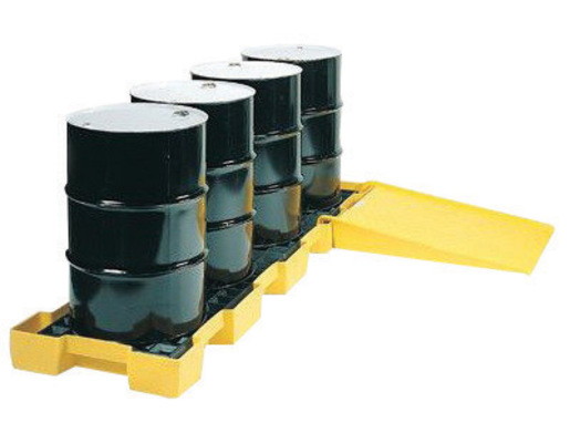 """Eagle 103 1/2"""" X 26 1/4"""" X 6 1/2"""" Yellow HDPE 4-Drum In-Line Spill Containment Platform With 60.5 Gallon Spill Capacity Without Drain"""