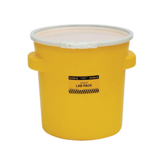 """Eagle 20 7/8"""" Top Dia X 16 11/16"""" Bottom Dia X 20 7/8"""" Haz-Mat Yellow HDPE Containment Lab Pack Drum With 20 Gallon Spill Capacity And Plastic Lever-Lock Lid"""