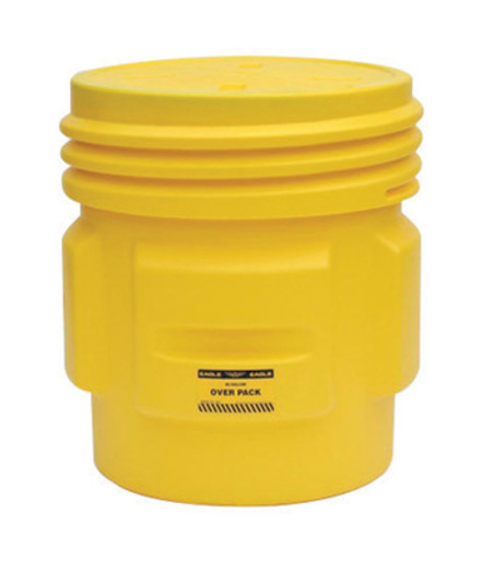 """Eagle 27 1/8"""" Top Dia X 25 15/16"""" Bottom Dia X 33 3/4"""" Haz-Mat Yellow HDPE Containment Overpack Drum With 65 Gallon Spill Capacity And Screw Top Lid"""