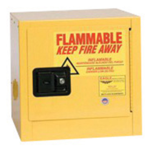 Eagle 2 Gallon Yellow 18 Gauge Steel Benchtop Safety Storage Cabinet With (1) Manual Close Door, (1) Shelf, (2) Vents, Warning Labels And 3-Point Latch System (For Flammable Liquids)
