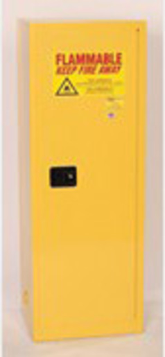 Eagle 24 Gallon Yellow Space Saver 18 Gauge Steel Safety Storage Cabinet With (1) Manual Close Doors, (3) Shelves, (2) Vents, Warning Labels And 3-Point Latch System (For Flammable Liquids)