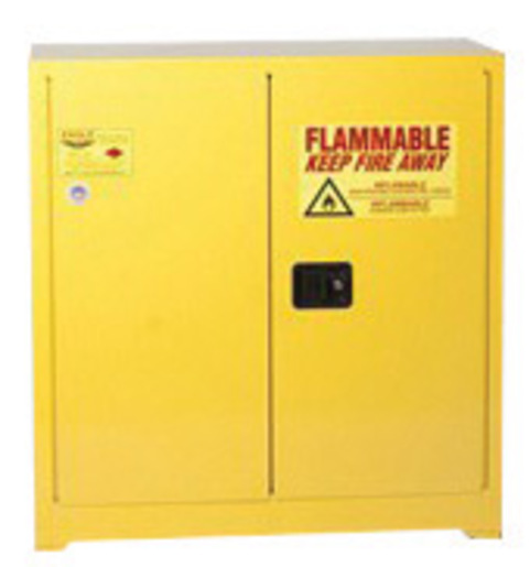 Eagle 30 Gallon Yellow 18 Gauge Steel Safety Storage Cabinet With (2) Manual Close Doors, (1) Shelf, (2) Vents, Warning Labels And 3-Point Latch System (For Flammable Liquids)