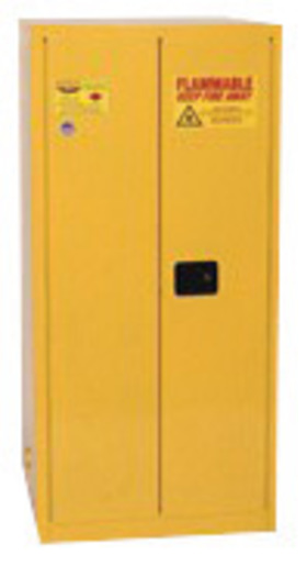 Eagle 60 Gallon Yellow 18 Gauge Steel Safety Storage Cabinet With (2) Manual Close Doors, (2) Shelves, (2) Vents And 3-Point Latch System (For Flammable Liquids)