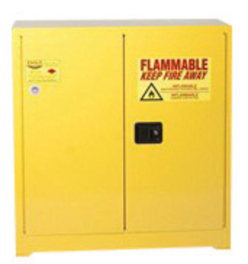 Eagle 24 Gallon Yellow 18 Gauge Steel Safety Storage Cabinet With (1) Self-Closing Door, (3) Shelves, (2) Vents, Warning Labels And 3-Point Latch System (For Flammable Liquids)