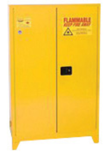 Eagle 90 Gallon Yellow 18 Gauge Steel Safety Storage Cabinet With (2) Self-Closing Doors And (2) Shelves (For Flammable Liquids)