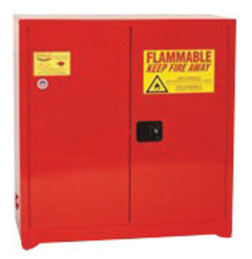 Eagle 40 Gallon Red 18 Gauge Steel Safety Storage Cabinet With (2) Manual Close Doors, (3) Shelves, Warning Labels And 3-Point Latch System (For Paint And Ink)