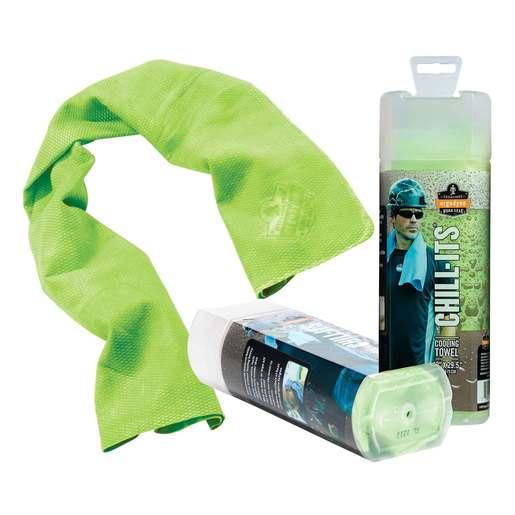 "Ergodyne 13"" X 29 1/2"" Hi-Viz Lime Chill-Its® 6602 PVA Evaporative Cooling Towel"