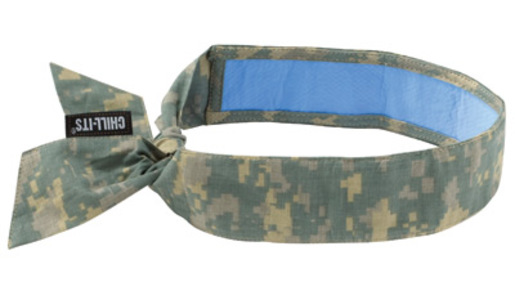 Ergodyne Camouflage Chill-Its® 6700CT PVA Evaporative Cooling Bandana With Tie Closure