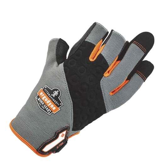 Ergodyne Large Hi-Viz ProFlex® Neoprene And Armortex® And Tena-Grip™ Three Open Finger Mechanics Gloves With Hook And Loop Cuff