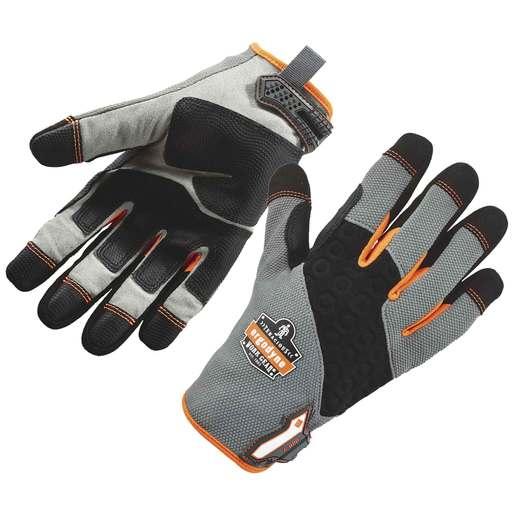 Ergodyne Large Black/Gray/Orange ProFlex® Tena-Grip ™ Full Finger Mechanics Gloves With Hook And Loop Cuff